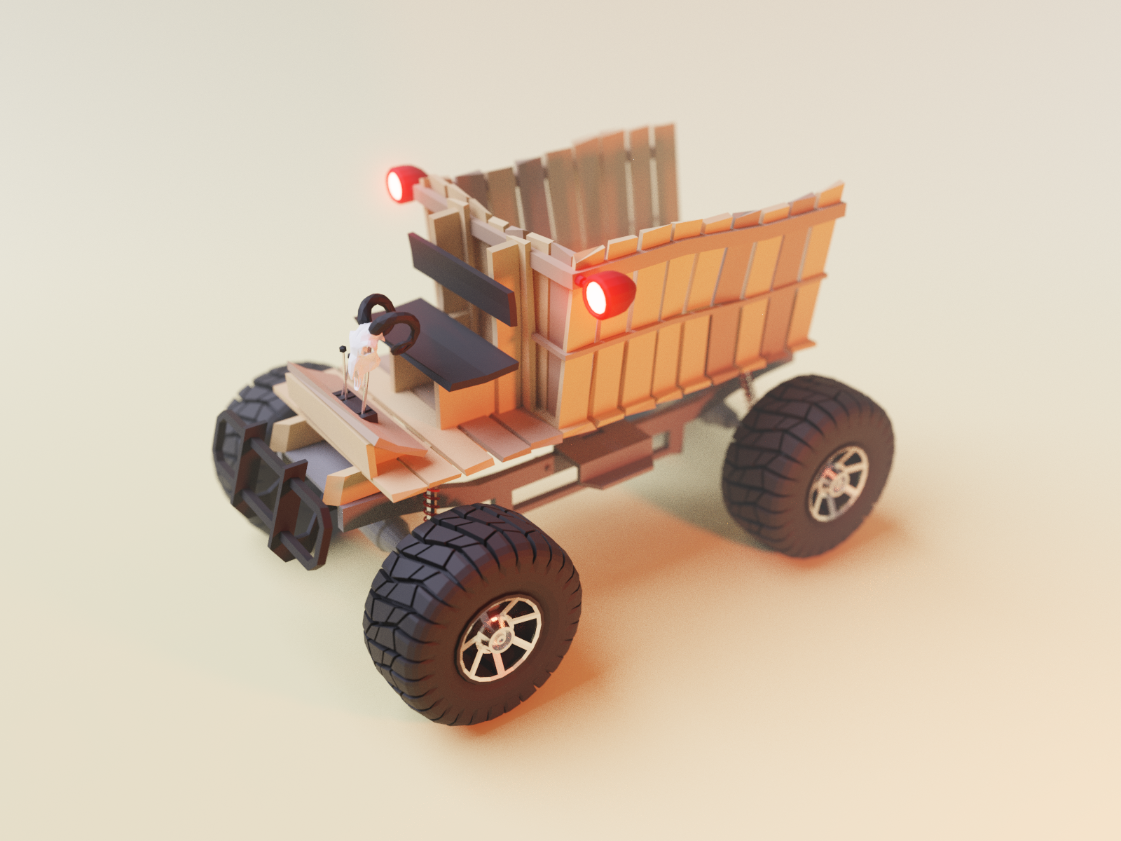 Wooden Cart 4x4 cart offroad car model lowpoly render design blender 3d illustration