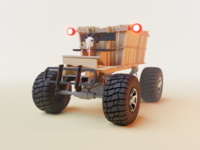 Wooden Cart 4x4 Front View