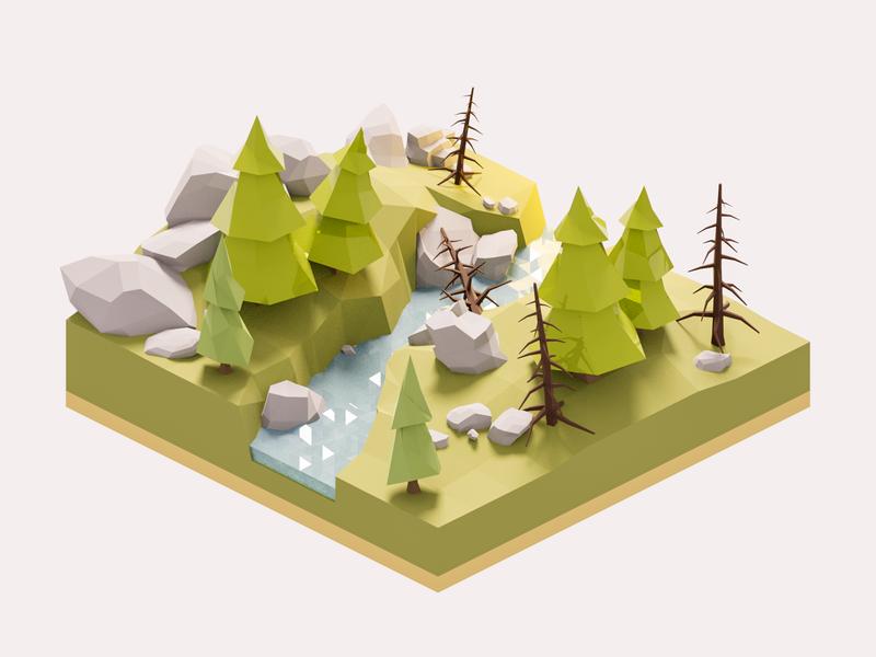 Forest Diorama diorama forest land model isometric lowpoly render design blender 3d illustration