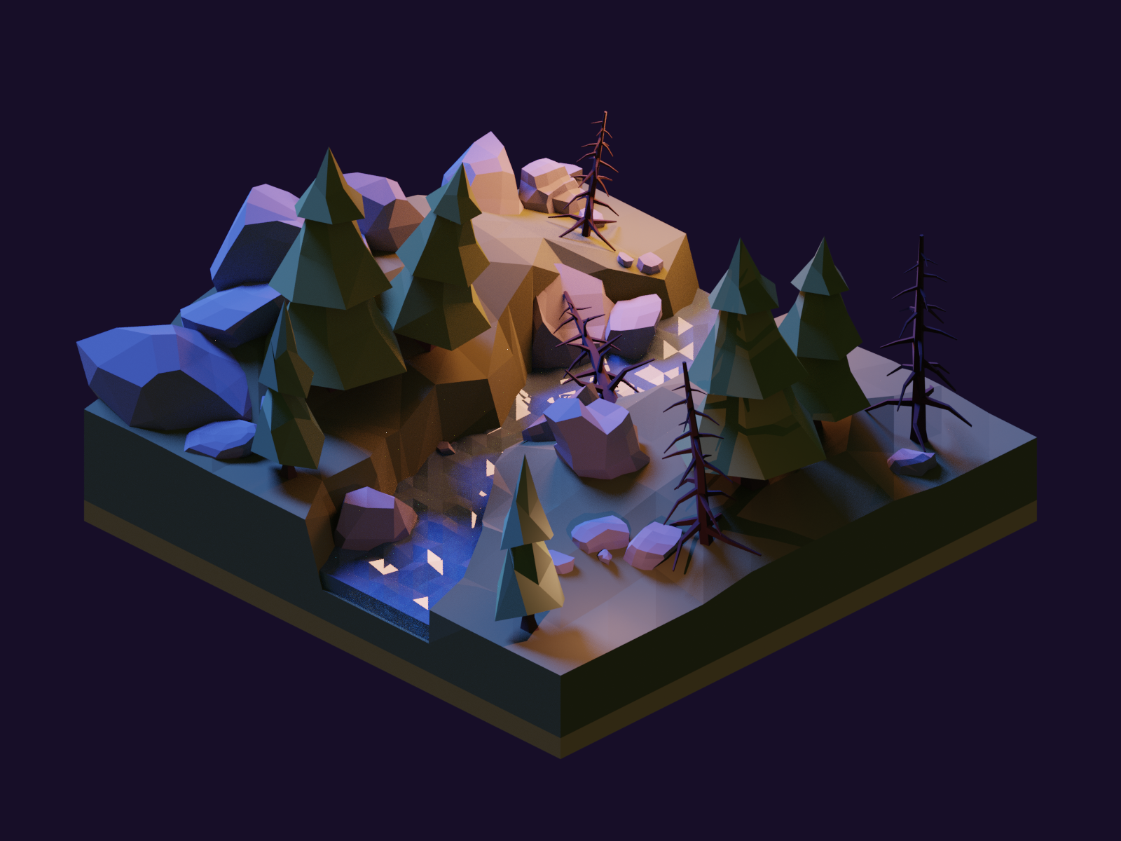 Forest Night Diorama rocks trees moonlight night forest diorama model isometric lowpoly render design blender 3d illustration