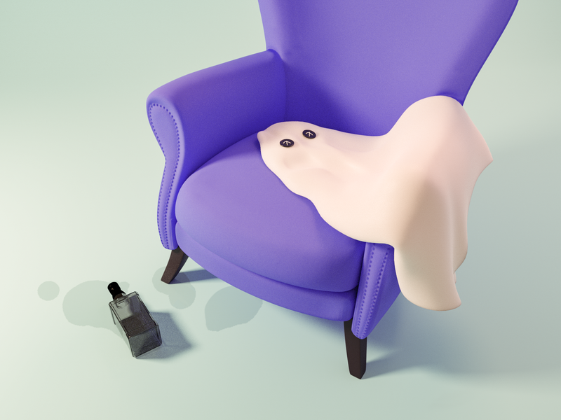 Ghost 👻 spooky boo chair bottle drunk halloween ghost model render design blender 3d illustration
