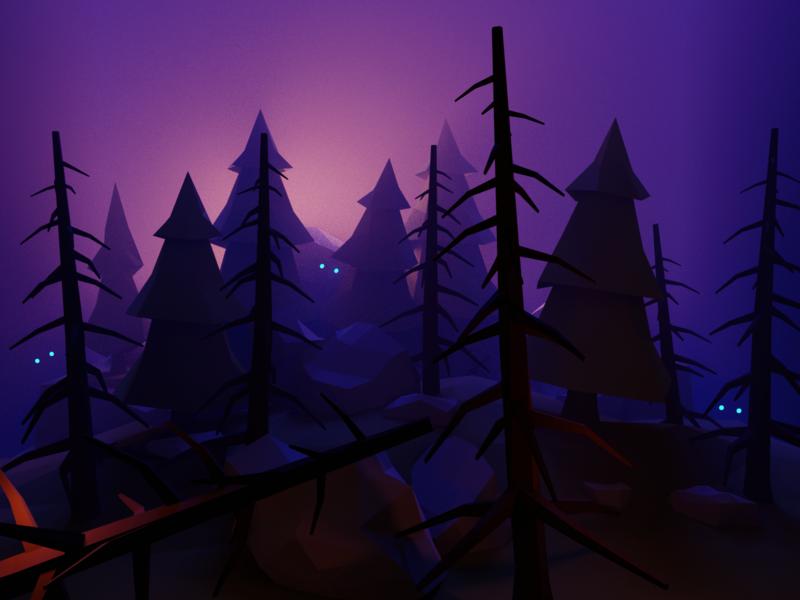 Things fantasy scary enchanted glow eyes spooky dark forest lowpoly render design blender 3d illustration