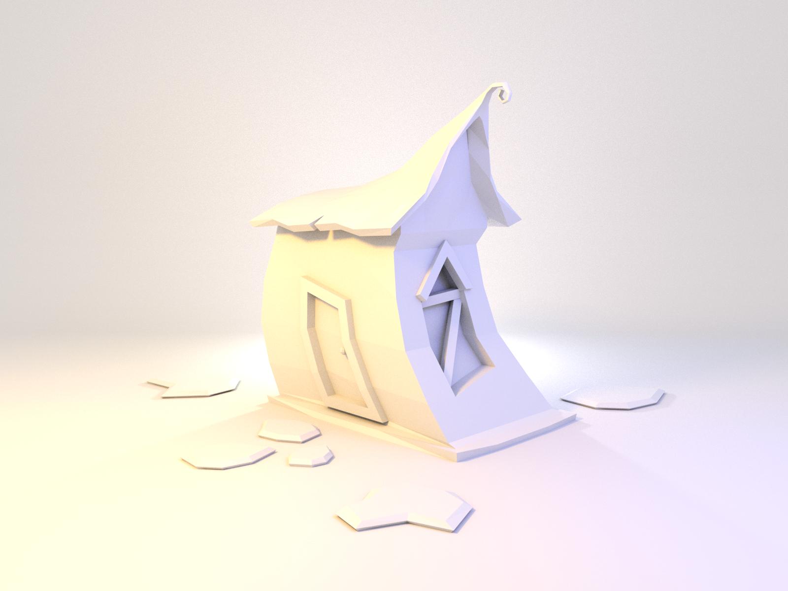 Cabin burton cabin house building model lowpoly render design blender 3d illustration