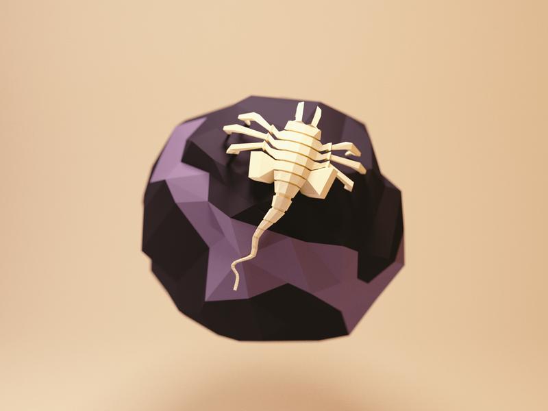 Facehugger facehugger alien nanoplanet planet space model lowpoly render design blender 3d illustration