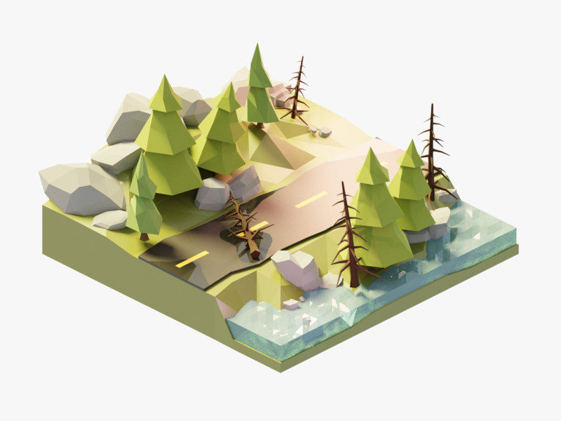 Forest Road Diorama 3d art road trees forest diorama landscape isometric lowpoly render design blender 3d illustration