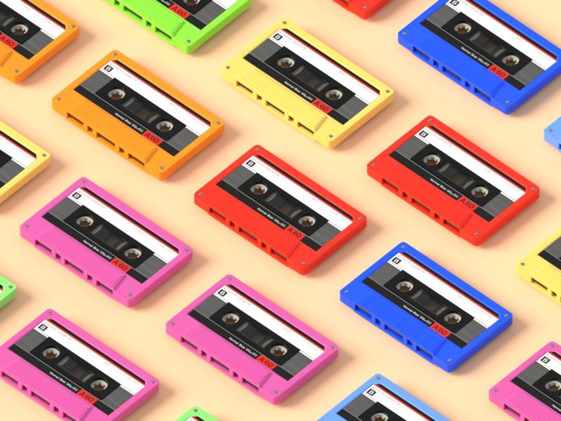 Tapes Tapes Tapes pattern colors analog tapes tape isometric model render design blender 3d illustration