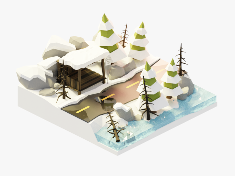 Winter Diorama trees snow road building forest isometric lowpoly render design 3d blender illustration