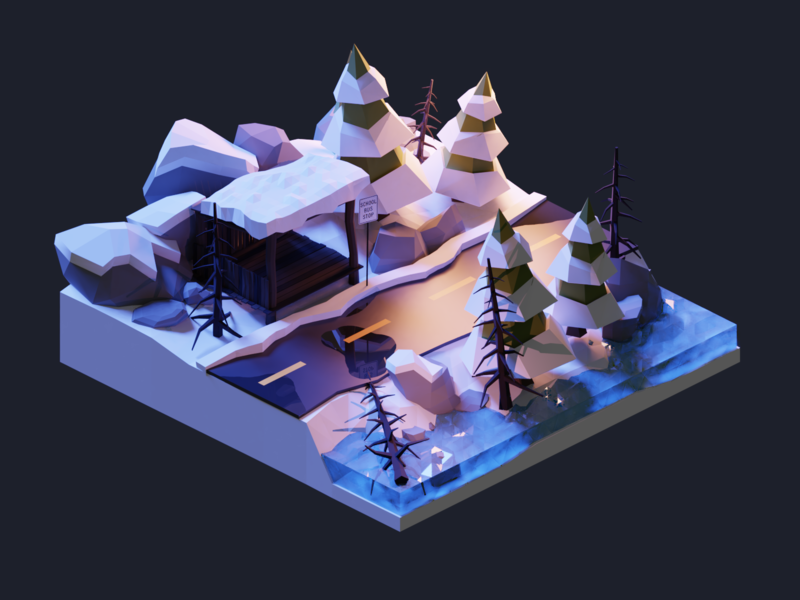 Winter Wonderland Pt.3 forest snow december winter christmas xmas night diorama isometric lowpoly render design blender illustration 3d