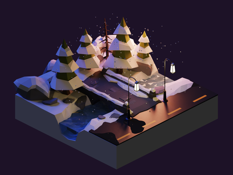 Winter Wonderland Pt.4 winter road bridge forest christmas xmas snow night diorama isometric lowpoly render design blender illustration 3d