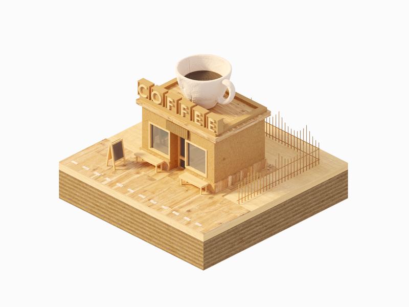 Cardboard and Wooden Coffeeshop wood cardboard paper urban store shop coffee isometric lowpoly render design blender illustration 3d