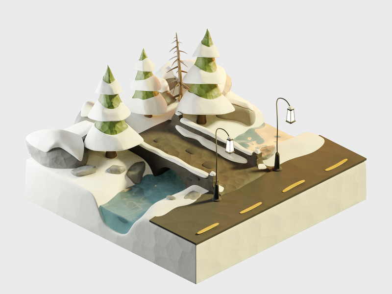 Clay Winter claydoh clay snow christmas xmas winter diorama isometric render design blender illustration 3d