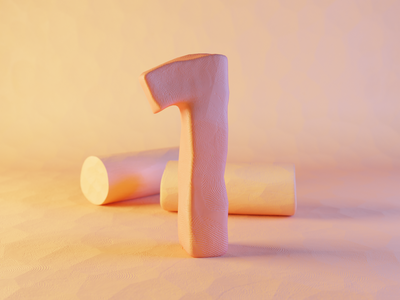 Clay Number One plasticine numbers one number one clay number typography render design blender illustration 3d