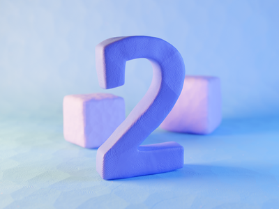 Clay Number Two plasticine geometry claydoh clay two typography render design blender illustration 3d
