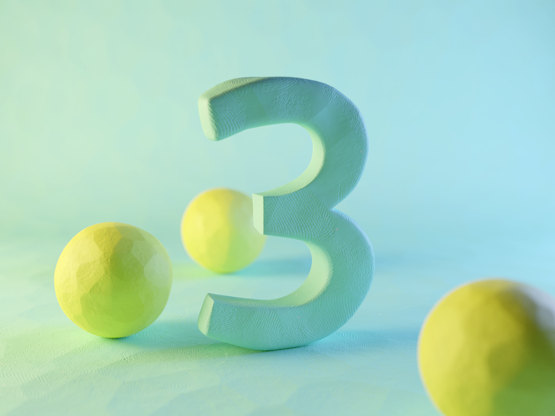 Clay Number Three plasticine claydoh clay numbers number three typography render design blender illustration 3d