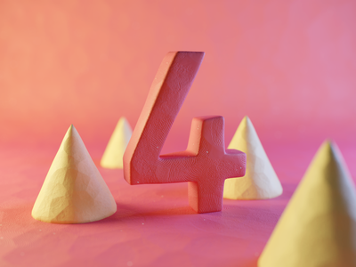 Clay Number Four plasticine stylized claydoh clay four numbers number typography render design blender illustration 3d