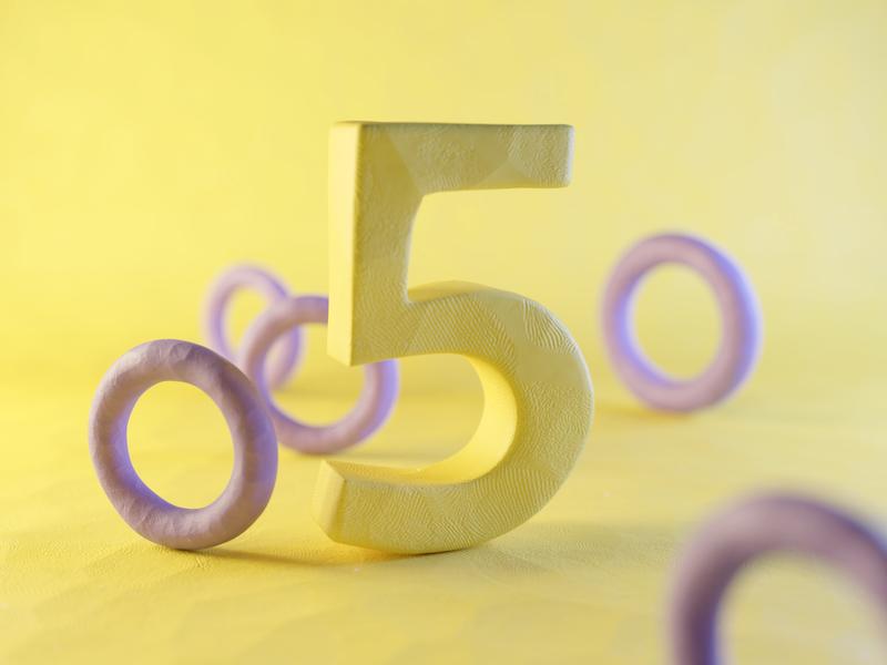 Clay Number Five plasticine claydoh clay five number numbers typography render design blender illustration 3d
