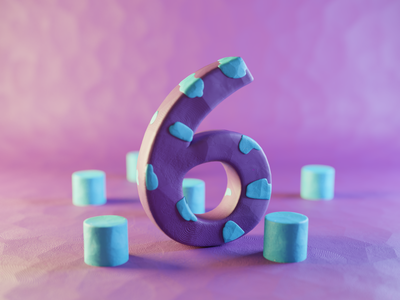 Clay Number Six plasticine claydoh clay six numbers number typography render design blender illustration 3d
