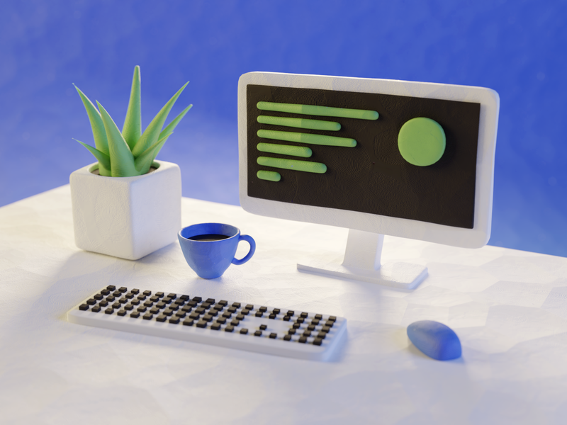 Workspace plasticine clay minimalism computer workspace model render design blender illustration 3d