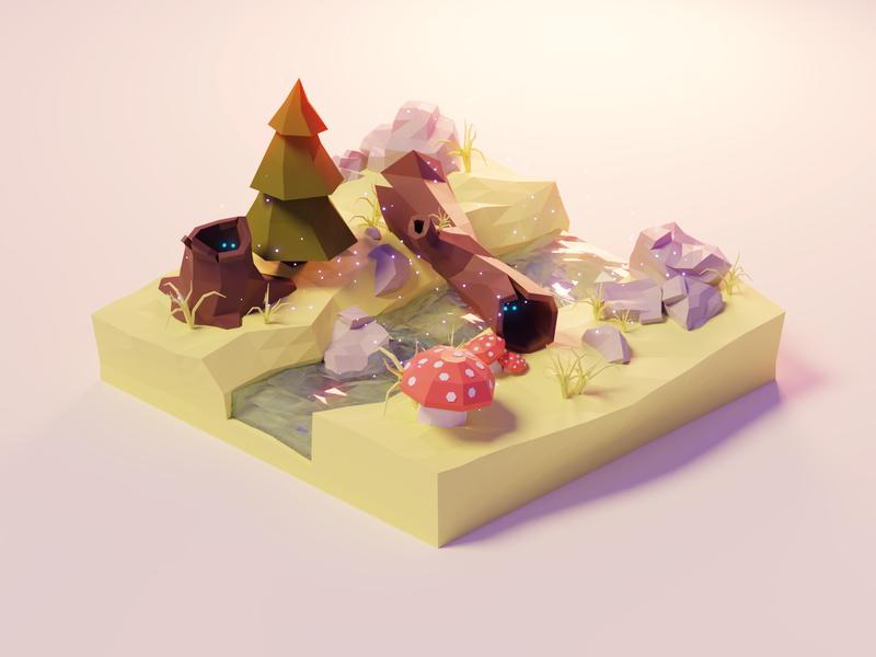 Enchanted Forest fantasy river forest mushroom low poly model isometric lowpoly render design blender illustration 3d