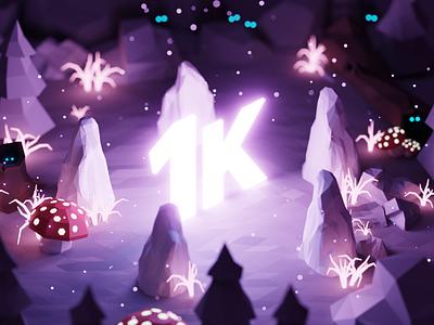 1K Thank You! 🤩 followers follower 1000 1k isometric lowpoly render design blender illustration 3d