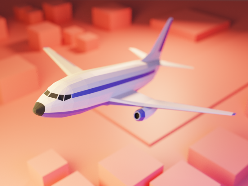 Low Poly Airplane ✈️ fly 737 boeing airplane model lowpoly render design blender illustration 3d