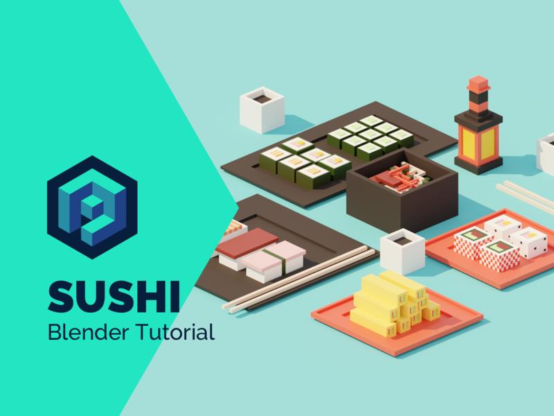 Sushi Low Poly Isometric Tutorial 👨🎓 process video tutorial asian food sushi low poly isometric lowpoly render design blender illustration 3d