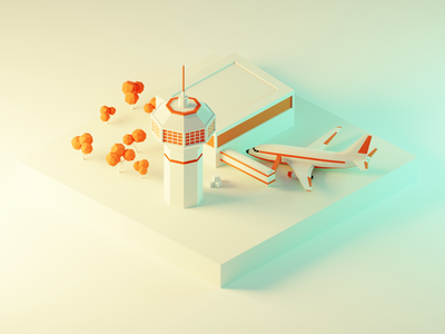 Airport Low Poly Diorama ✈️