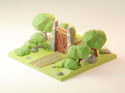 Jurrassic Park Diorama 🦖 movie fanart jurrassic park lowpolyart low poly diorama model isometric lowpoly render blender illustration 3d