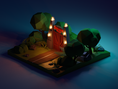 Jurassic Park Night Diorama