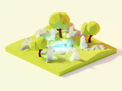 Fountain of Youth Pt. 2 fantasy pond nature lowpolyart low poly diorama model isometric lowpoly render design blender illustration 3d