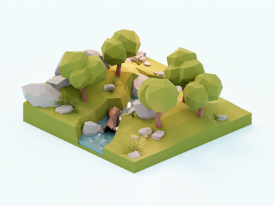 Forest Diorama 🌳 forest lowpolyart diorama low poly model isometric lowpoly render design blender illustration 3d