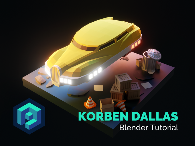 Korben Dallas Blender Tutorial process tutorial flying car vehicle taxi korben dallas lowpolyart diorama low poly model lowpoly render design blender illustration 3d