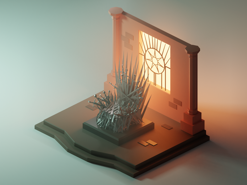 The Iron Throne red keep iron throne got game of thrones movie fanart lowpolyart diorama low poly model isometric lowpoly render design blender illustration 3d