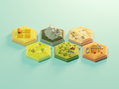 Settlers of Catan Pt.2 settlersofcatan game board game boardgame lowpolyart diorama low poly model isometric lowpoly render design blender illustration 3d