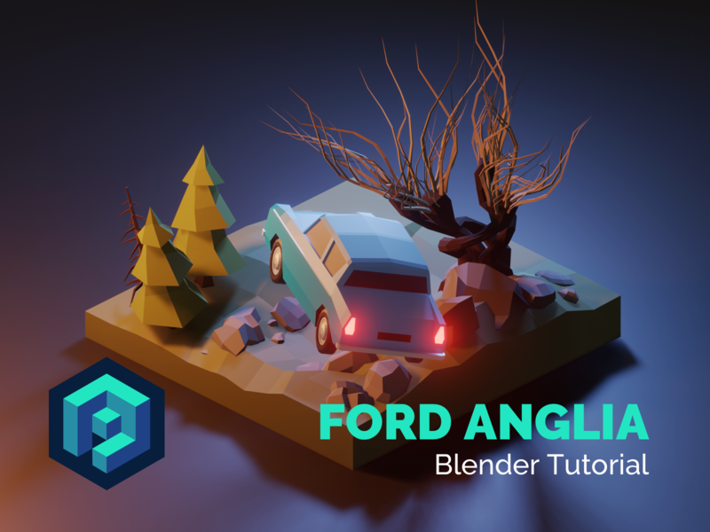 Ford Anglia Blender Tutorial tutorial vehicle car ford harrypotter lowpolyart diorama low poly model isometric lowpoly render design blender illustration 3d