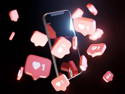 Likes Likes Likes product likes instagram motiongraphics motion phone animation model render design blender illustration 3d