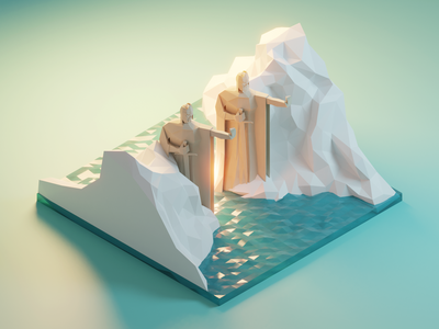 Argonath from Lord of the Rings argonath lotr lordoftherings lowpolyart diorama low poly model isometric lowpoly render design blender illustration 3d