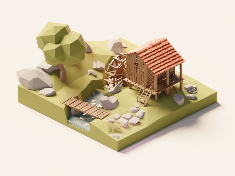 Watermill watermill mill forest lowpolyart diorama low poly model isometric lowpoly render design blender illustration 3d