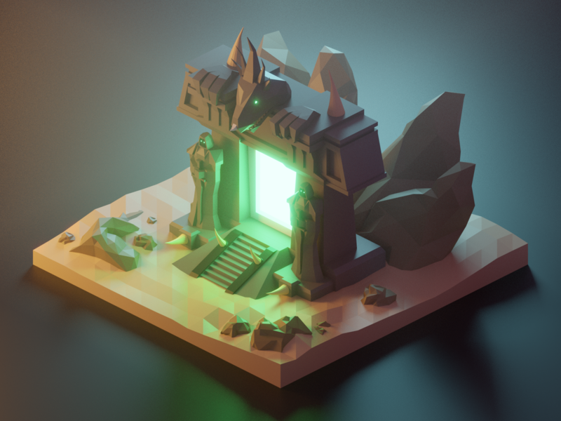 You are not prepared! fantasy fanart darkportal wow world of warcraft lowpolyart diorama low poly model isometric lowpoly render design blender illustration 3d