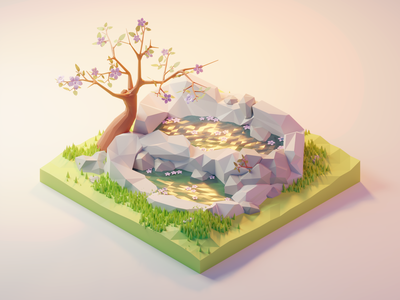 Spring Pond nature water pond grass spring flowers tree forest lowpolyart diorama low poly isometric lowpoly render design blender illustration 3d