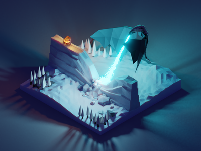 Undead Dragon Melting The Wall gameofthrones fanart season8 got game of thrones lowpolyart diorama low poly model isometric lowpoly render design blender illustration 3d
