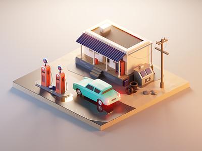 Vintage Gas Station vehicle car gas station vintage lowpolyart diorama low poly model isometric lowpoly render design blender illustration 3d
