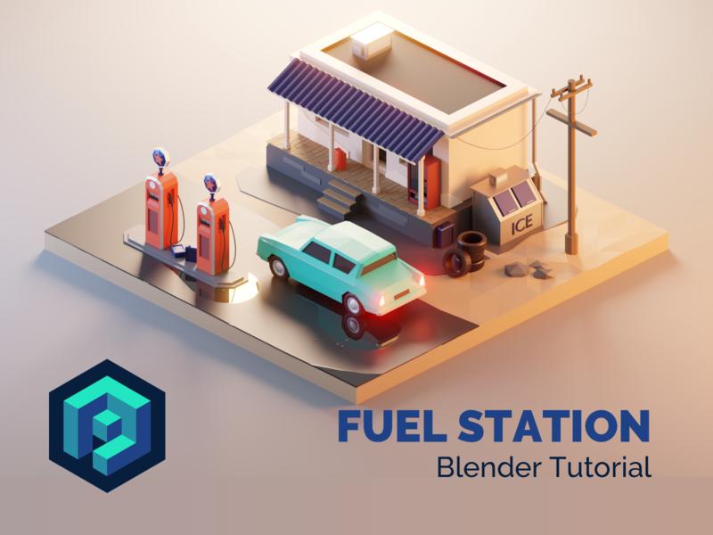 Fuel Station Blender 2.8 Tutorial
