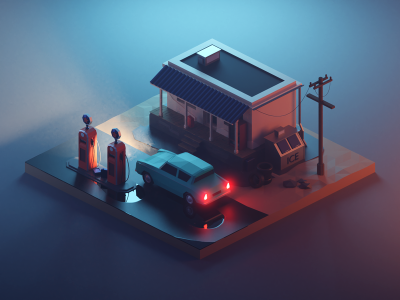 Fuel Station at Night lights night car building vehicle lowpolyart diorama low poly model isometric lowpoly render design blender illustration 3d