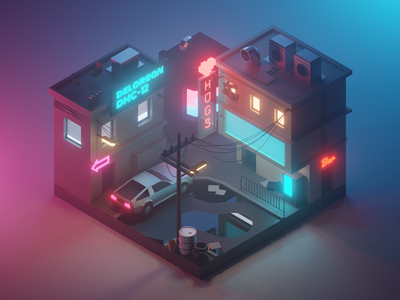 Cyberpunk Diorama future cyberpunk street building lowpolyart diorama low poly model isometric lowpoly render design blender illustration 3d