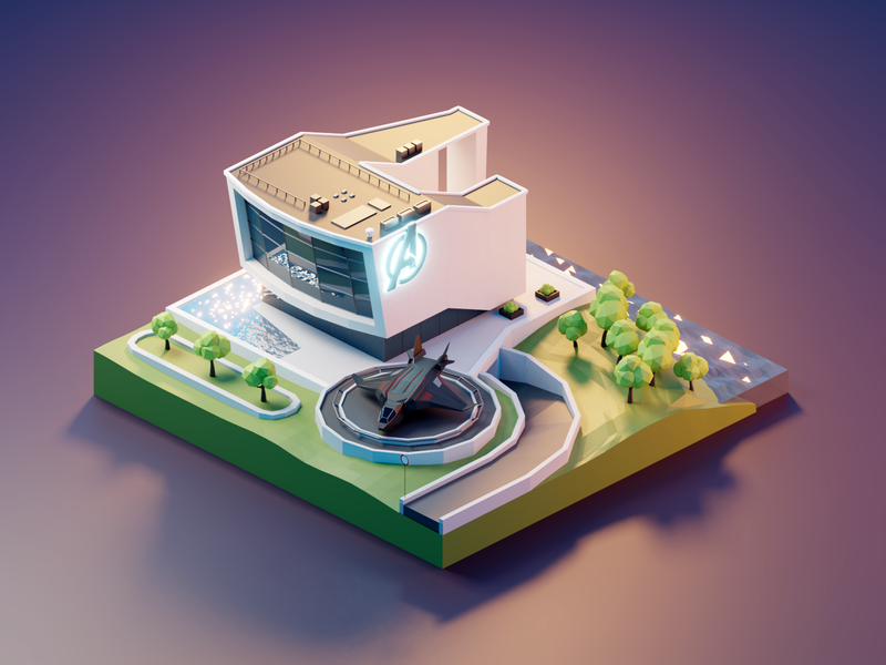 Avengers Headquarters hq endgame avengersendgame quinjet building marvel avengers fanart lowpolyart diorama low poly model isometric lowpoly render design blender illustration 3d