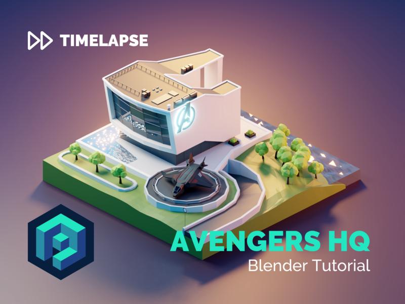 Avengers HQ Tutorial endgame headquarters avengersendgame avengers building lowpolyart diorama low poly model isometric lowpoly render design blender illustration 3d