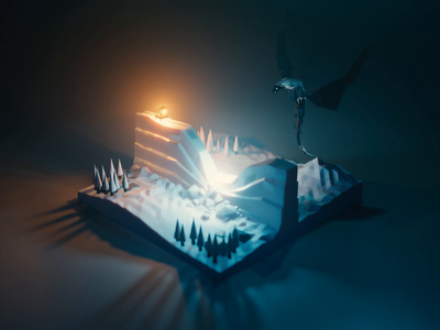 Animated Dragon and Wall wall gameofthrones dragon fanart lowpolyart diorama low poly model isometric lowpoly render design blender illustration 3d