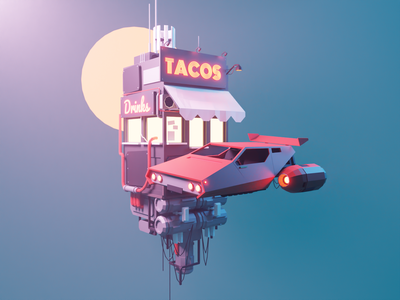 Taco Pit Stop flying car hovercar sci-fi cyberpunk lowpolyart diorama low poly model isometric lowpoly render design blender illustration 3d