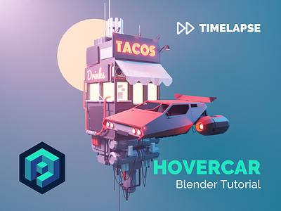 Hovercar Blender 2.8 Tutorial speedart timelapse tutorial flying car hovercar cyberpunk lowpolyart diorama low poly model isometric lowpoly render design blender illustration 3d